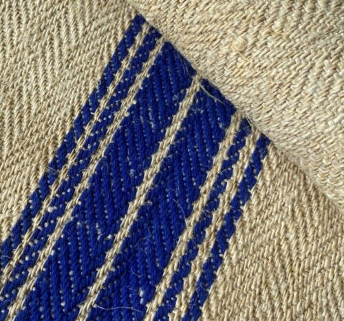 Antique Grain Sack Fabric Bolts 2.43 Yards Blue Stripe Grainsack Hemp Linen Bolt