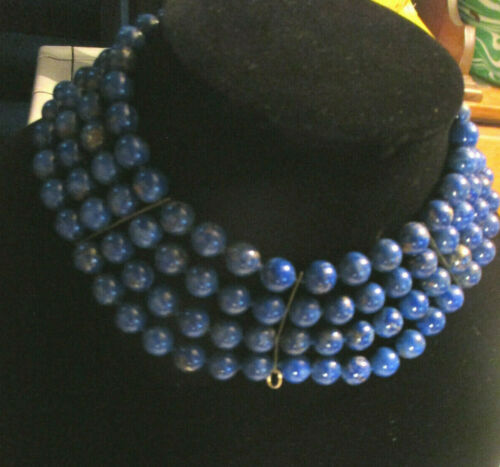 "ANTIQUE VINTAGE  LAPIS LAZULI   FOUR strand beads 13"" Choker Necklace"
