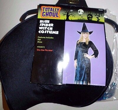 womens NEW NWT black blue SPIDER WITCH HALLOWEEN COSTUME DRESS WITH HAT NICE WOW