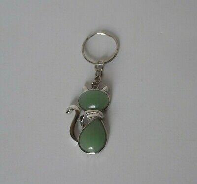 silver tone Aventurine crystal gemstone CAT key chain ()
