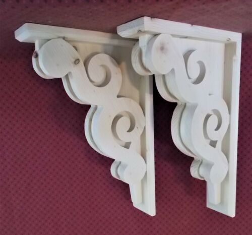 PAIR of Victorian Design Wood Corbels / Shelf Mantle Support Brackets (#6011D)