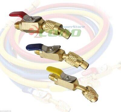 3pcs Color Coded R410a R134a Shut Valves 4 Ac Hvac Refrigeration Charging Hoses
