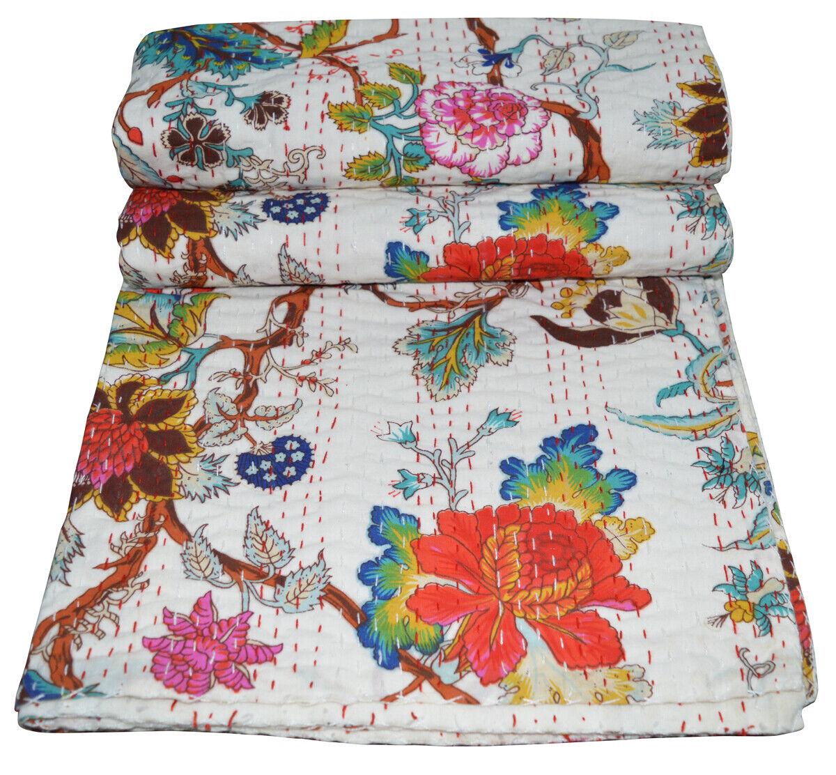 Indian Handmade Floral Throw Blanket Bedspread Twin Cotton K