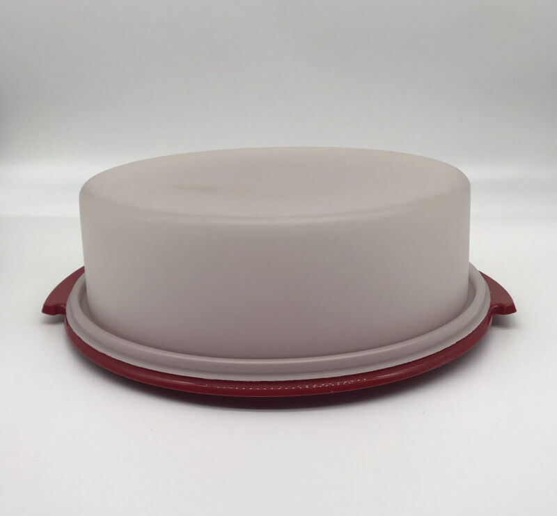 """Tupperware Pie/Cake Taker 9"""" Candy Red Base #719-2 White Top"""