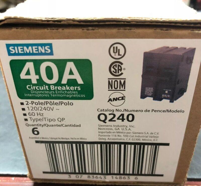(6) SIEMENS (Q240) PLUG-ON CIRCUIT BREAKERS  QP  2 Pole 40 Amp 120/240 VAC