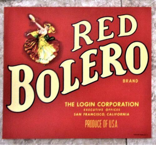Red Bolero  Brand Fruit Crate Label, original