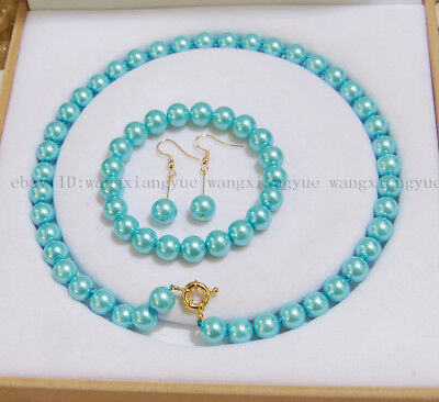 8/10/ 12mm Blue South Sea Shell Pearl Round Beads Necklace Bracelet Earrings AAA ()