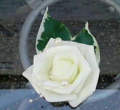 Gäste Blume Anstecker creme Rosen 10 cm Hochzeit Ansteckblume (Ansteckblume Hochzeit)