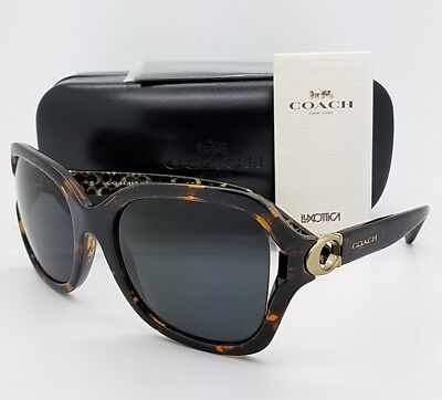New Coach sunglasses HC8238 550787 57mm Tortoise Grey Butterfly AUTHENTIC 8238