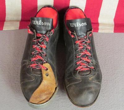 Vintage 1950s Wilson Schwarzes Leder Baseball Stollen Schuhe Kannen Zehenkappe ()