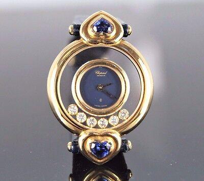 $22k Lady Chopard 18k Yellow Gold Royal Heart Blue Sapphire Happy Diamond Watch