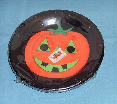 vintage HALLOWEEN PAPER PLATES by Party House jack-o-lantern pumpkin