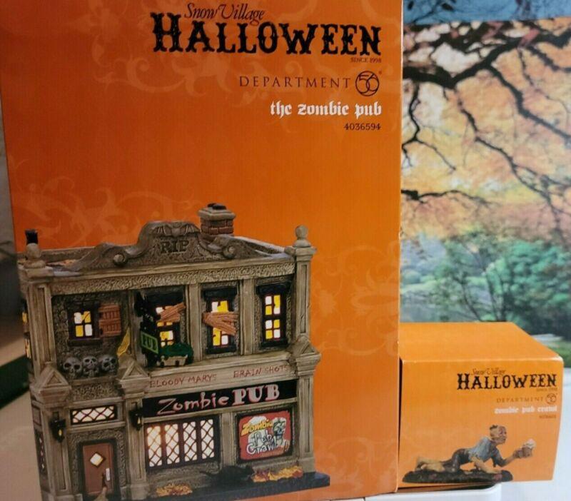 Dept 56 Zombie Pub & Zombie Pub Crawl, both BNIB SV Halloween
