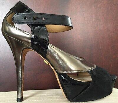 LAMB Stiletto Pumps Sz 7.5 womens high heels black - silvery green Stefani shoes