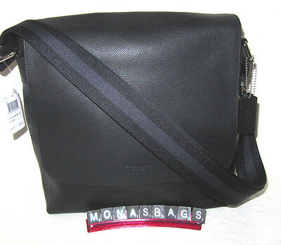 New Coach F72362 Men's Sullivan Small Messenger Bag Black Leather NWT $380