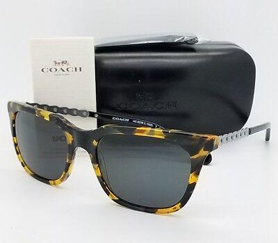 New Coach sunglasses HC8236 538887 56mm Tortoise Silver Grey Chain Cat eye 8236