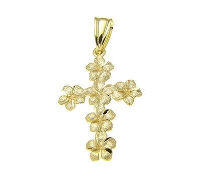 (14K SOLID YELLOW GOLD SPARKLY HAWAIIAN PLUMERIA FLOWER CROSS PENDANT 15MM)
