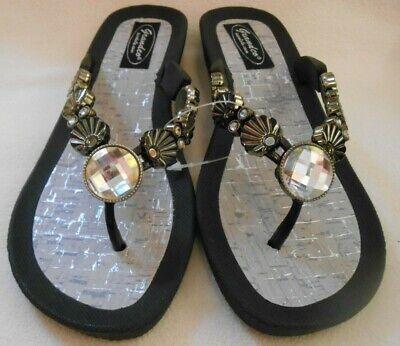 GRANDCO SANDALS Beach Pool THONG BLACK Shell Dressy BLING Jeweled Flip Flops - Dressy Flip Flops