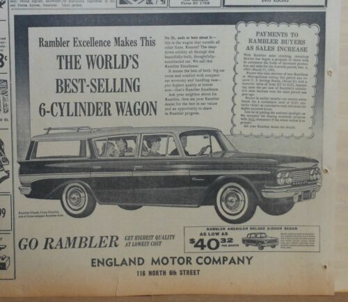 1961 newspaper ad for Rambler - Classic Cross Country station wagon, Excellence