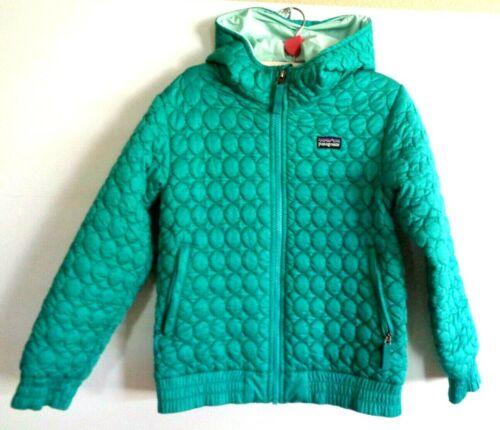Patagonia girl 10 quilted teal hoodie ski jacket,zip front and neck,zip pockets