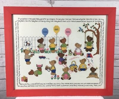 Teddy Bear Picnic Song (Framed Cross Stitch Teddy Bear Picnic Song Lyrics & Picture  22 x 18 Childs)