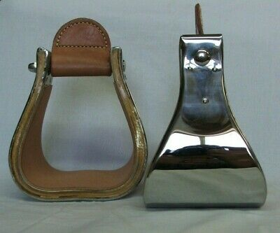 """4/"""" MONEL STAINLESS BUCKAROO STIRRUPS with WEAR LEATHER 3/"""""""