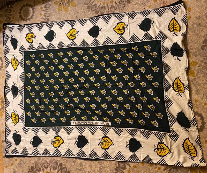 East Africa Kanga Khanga Pareo Cotton Wrap TANZANIA Textile Fabric FLOWERS VGC