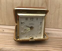 Seth Thomas Travel Alarm Clock Vintage Wind-Up Brown Square Folding Case