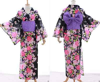K-003 schwarz rosa Rosen Blumen ORIGINAL Japan Damen Kimono YUKATA OBI Gürtel