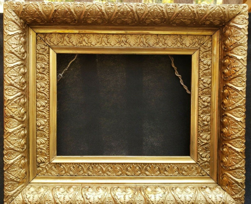 Antique Gilded Frame with Rich Floral Decor Size 8.5x6.5 inches