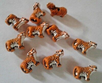 Mini Peruvian Ceramic Orange Tiger Earring Size 10 X 15mm Animal Beads Lot of 10