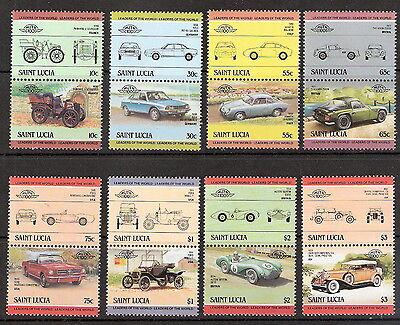 Saint Lucia 1984 Cars Complete Set Se-Tenant Pairs MNH (SC# 686-693)