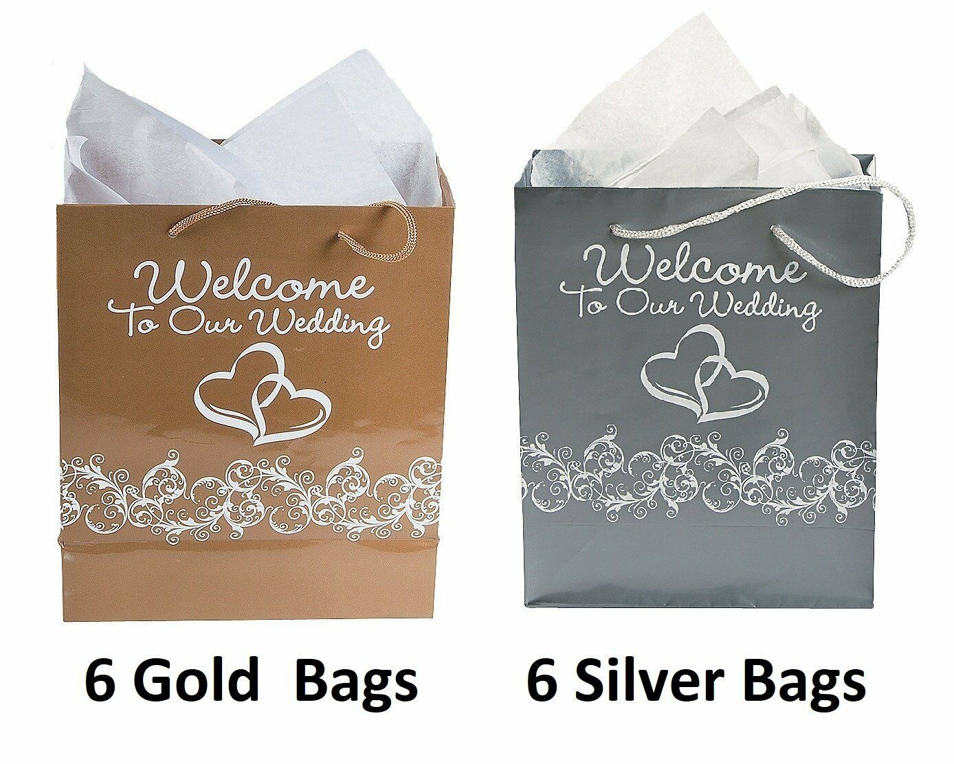 6 Silver 6 Gold Two Hearts Welcome To Our Wedding Gift Bags 12