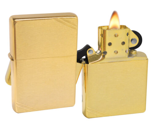 Zippo Lighter 240 1937 Vintage Series With Slashes Brushed Brass Windproof NEW