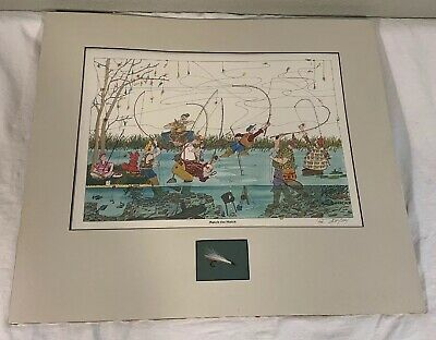 Vintage 1985 Bruce Johnson Match The Hatch Fly Fishing Print In Mat With Hook