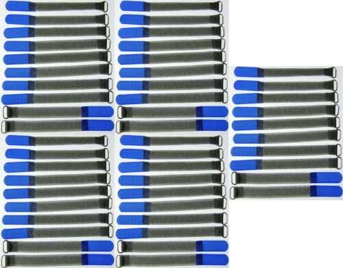 50 Klett Kabelbinder 160 x 16 mm blau FK Kabelklettband Kabelklett Klettband Öse