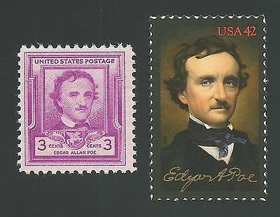 (1949 and 2009 EDGAR ALLAN POE Commemorative US Stamps Collection MINT CONDITION!)