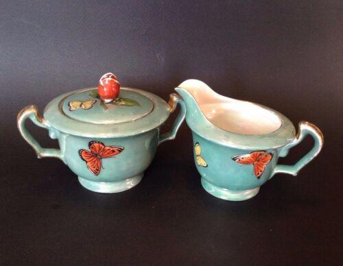 Noritake Luster Sugar And Creamer - Hand Painted Butterflies - Rose Knob - Japan
