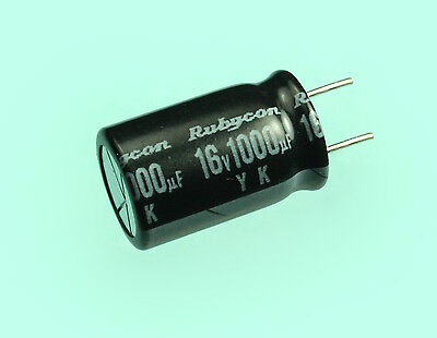 1000uf 16v 85c Rubycon Yk Radial Electrolytic Capacitor 1000mfd 5 Pack
