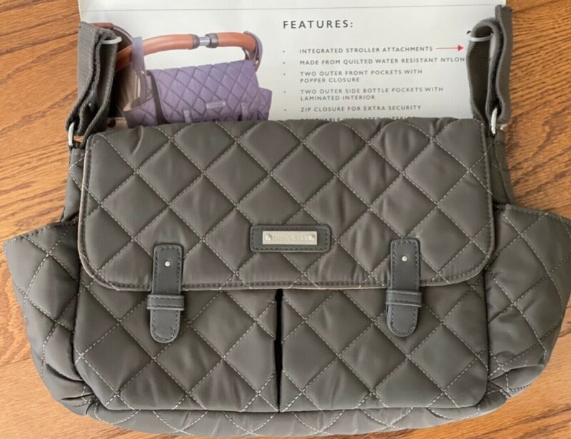 STORKSAK London Quilted Stroller Organizer Charcoal Gray Brand New
