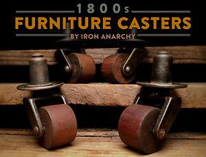 Etonnant ANTIQUE TABLE CASTERS, Victorian Furniture Cast Iron Wood Swivel Wheel Set  Vtg