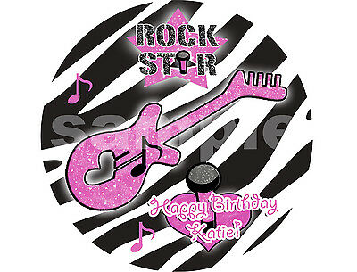 ROCK STAR ZEBRA Edible Cake Topper Image Round Frosting Sheet PERSONALIZED! ()