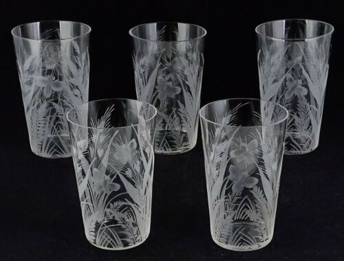 5 Antique Crystal Juice Tumblers Heavily Engraved Insects Flowers