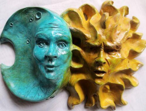 """Handmade Indoor Outdoor Sun-Moon Sculpture with Personality, 12"""" x 9"""" Claybraven"""