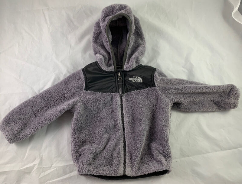 THE NORTH FACE Toddler Osso Hooded Fleece Jacket Gray w/black Size 12-18 mo.
