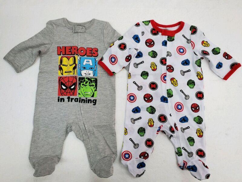 Marvel Avengers baby Footies ZipUp Union Suit Romper Jumpsuit Clothes 2 Pcs Set