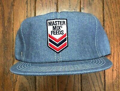 Vintage Master Mix Feeds Denim Trucker Hat Snapback Hat Baseball Cap USA Made