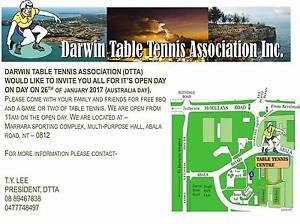 DARWIN TABLE TENNIS ASSOCIATION INC OPEN DAY Darwin CBD Darwin City Preview