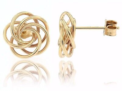 14K Yellow Gold Floral Swirl Shaped Love Knot Stud Earring  Hollow  Gift