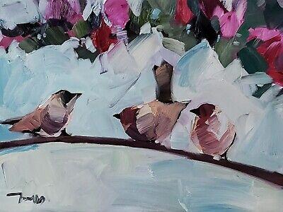 JOSE TRUJILLO Impressionism OIL PAINTING 12X16 BIRDS TREE BRANCH MODERN FINE ART